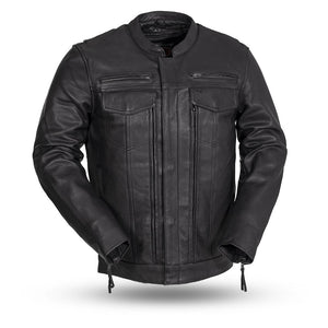 Biker Leather Jacket  Mens  Raider FIM263CDMZ  Black  With Concealed Carry Pockets