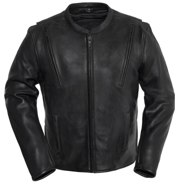Biker Leather Jacket REVOLT -  LADIES BLACK