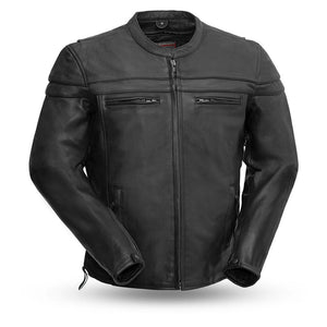 Biker Leather Jacket - ROCKY - FIM215CSLZ - Mens Black - With Conceal Carry Pockets