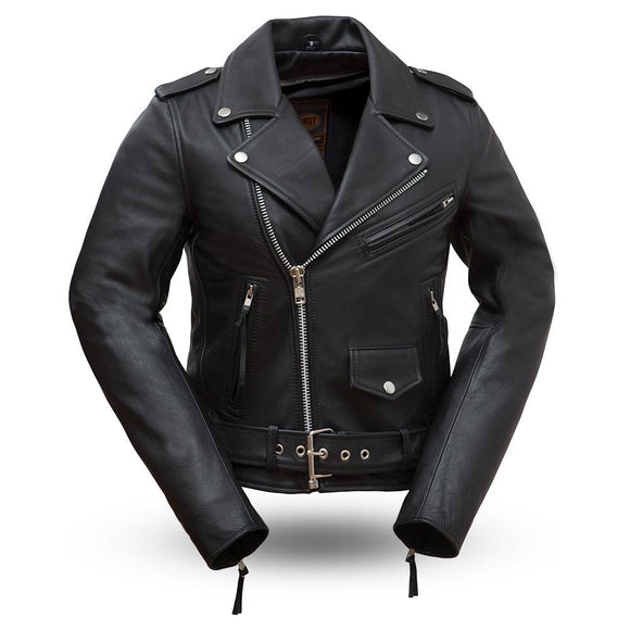 Biker Leather Jacket - ROCKSTAR - WBL1082 - Ladies - 4 Colors