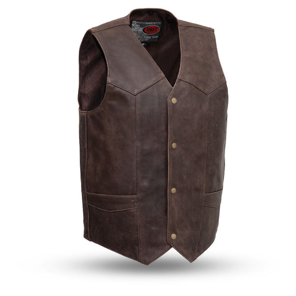 Biker Leather Vest - TEXAN - FIM643CAN - With Conceal Carry Pockets - 2 Colors