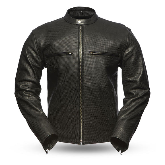 Biker Leather Jacket   Turbine   Mens  FIM213CNP    Black