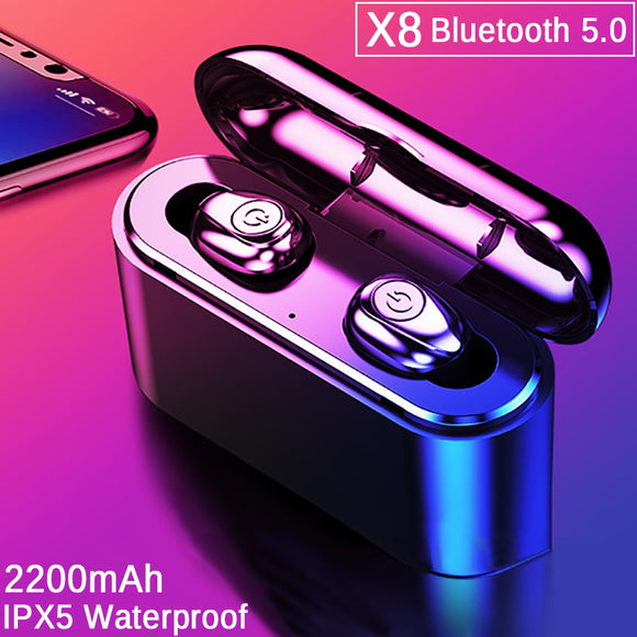 TWS X8 True Wireless Earbuds Bluetooth Earphones Mini TWS Waterproof Headfrees with 2200mAh Power Bank For All Phone