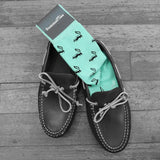 Skunk Socks - Black on Green - Men's Mid Calf