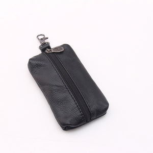 Leather Car Key Holder Case, Men or Women With Zipper Enclosure