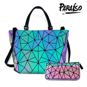 Paraiso Women's Geometric Handbags Holographic Luminous Purses with Zipper Closure
