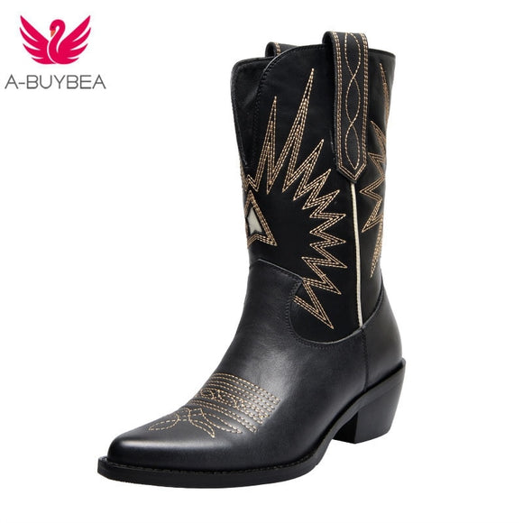 Western Boots Women Autumn Winter Slip on Solid Color Boots Pointy Toe Cowboy Cowgirl Motorcycle Boots for Female