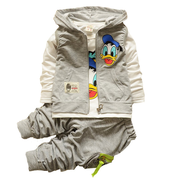 1 2 3 4 year Baby Boys Autumn Clothes Set Mickey Duck Children Clothing Set Hooded Jacket Children Clothes Boy Kids Tracksuit