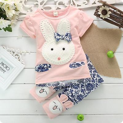 2016 Hot Sale 2PC New Baby Kids Top Short Pants Set Clothes Cute Rabbit Girls Clothes Pink Green baby girl boy's clothes Set