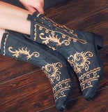 Embroidery Cowgirl Shoes Winter 2017 Comfortable Western Boots Cowboy Round Toe Embroidered Women Mid Calf Chunky Vintage Female