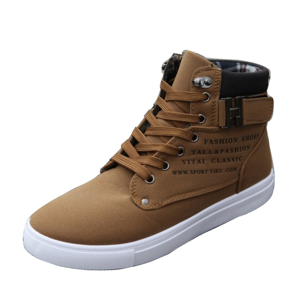 Hot Men Drive Shoes Male Fashion Buckle PU Leather Boots For Man Casual High Top Canvas Spring New Ankel Boots For Men