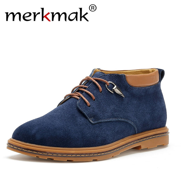 Merkmak Brand,  Men's Ankle Suede Leather Shoes Oxford Style