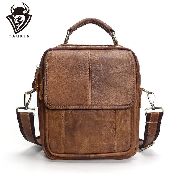 2019 New Genuine Leather Shoulder Bags Fashion Men Messenger Bag Small Ipad Male Tote Vintage New Crossbody Bags Men's Handbags