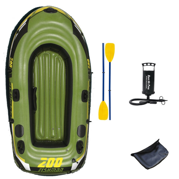 218*110*36cm FISHMAN 200 fishing inflatable boat thick pvc paddle oar pump carry bag accessory air dinghy raft light foldable