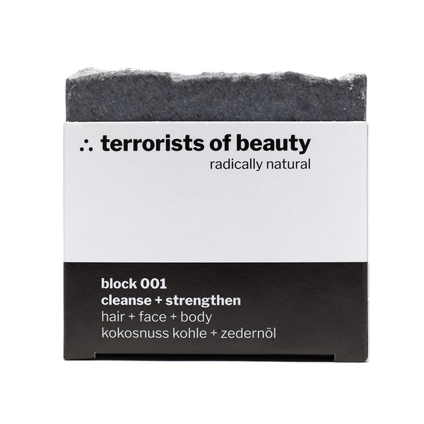 Blockseife block 001, Kokosnuss-Kohle-Zedernholz, Naturkosmetik von terrorists of beauty, 100gr