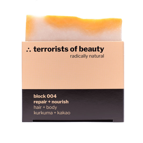 Blockseife block 004, Kurkuma-Kakao, Naturkosmetik von terrorists of beauty, 100gr
