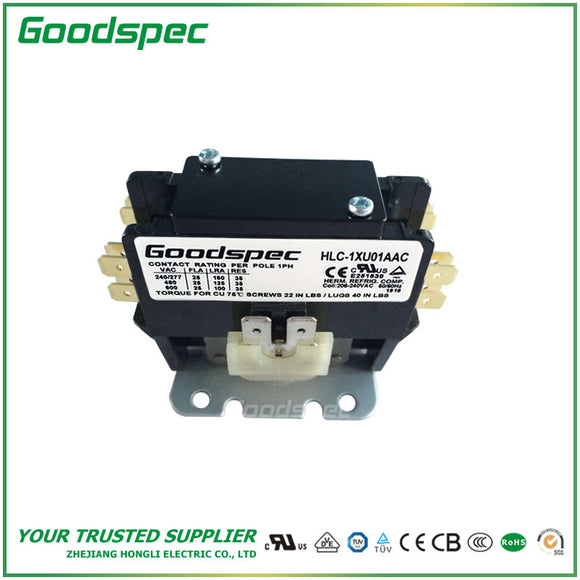 HLC-1XU01AAC(1P/25A/208-240VAC) Definite Purpose Contactor