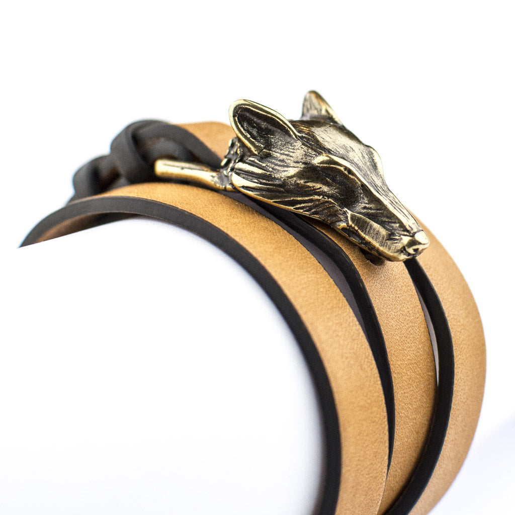 Leather bracelet Geo Wolf Plus Bronze Tulsi
