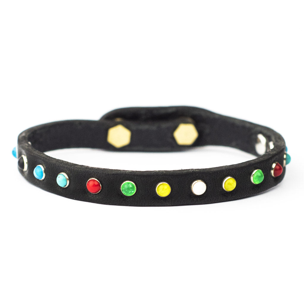 Bracciale pelle Tè Fruttino Tulsi - Mix di micro borchie colorate - Pelle colore nero - Fronte