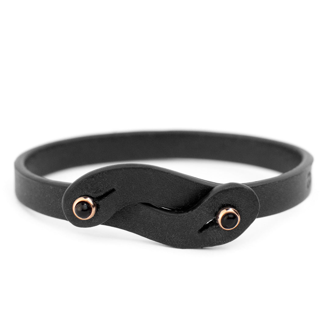 Leather bracelet Noi Onyx Tulsi