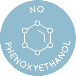 blue icon stating the New Edition range does not contain any phenoxyethanol