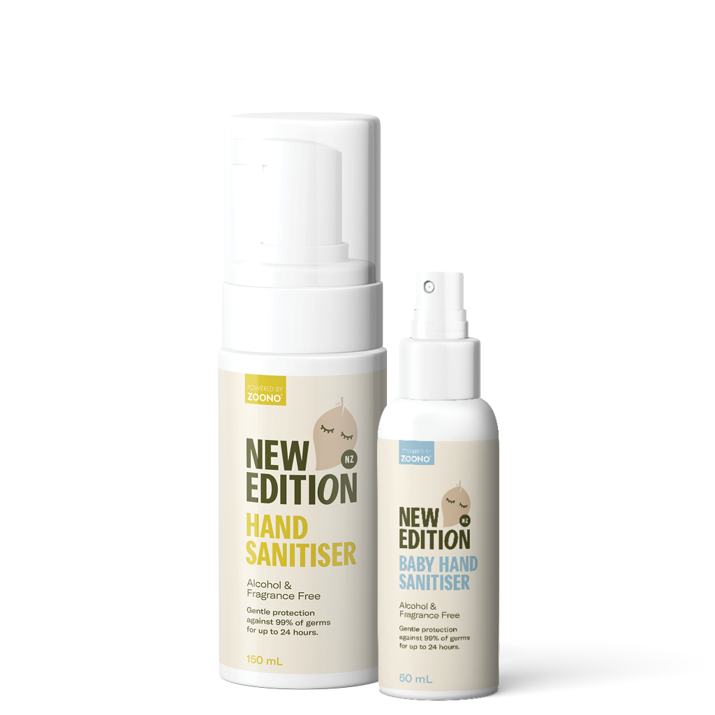 popular New Edition NZ family sanitising pack which includes 150ml adult hand sanitiser and baby hand sanitiser spray