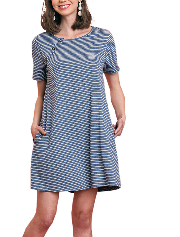 Front Button Striped Short Dress