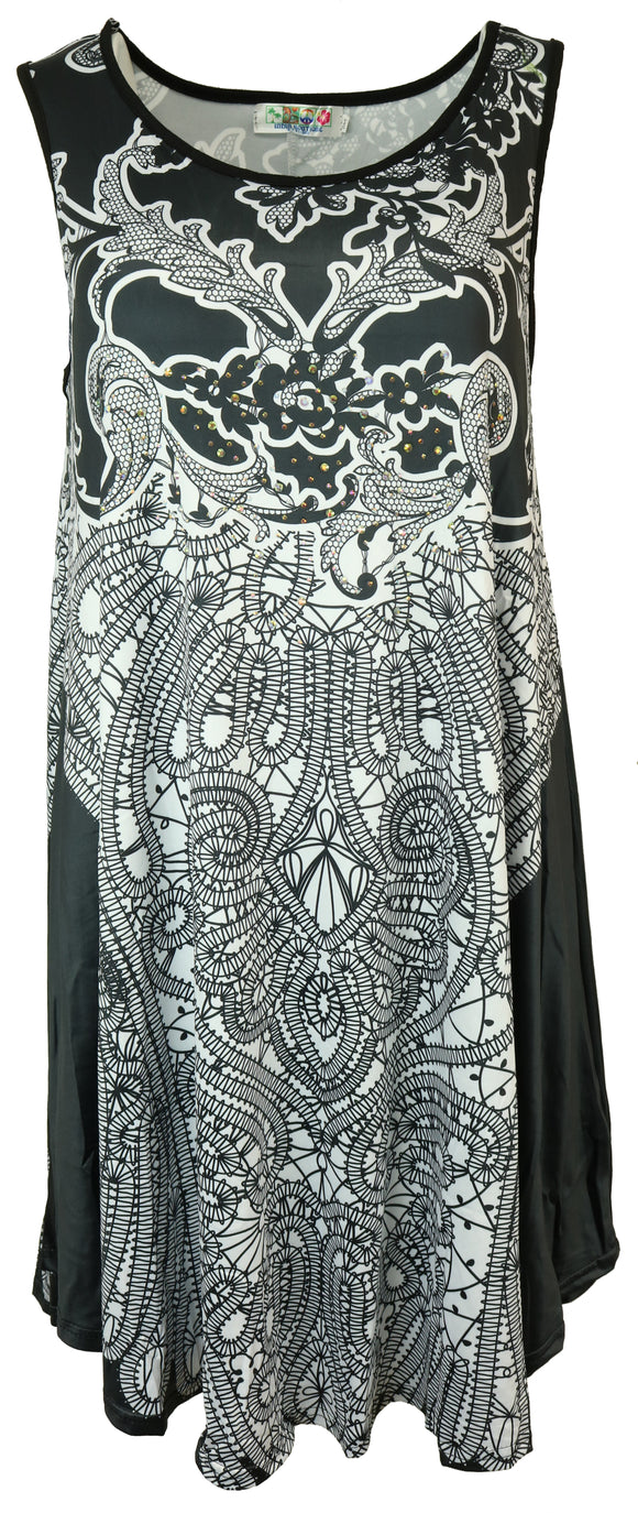 Stitched Black & White Look Crystal Cover Up - Shop Making Waves