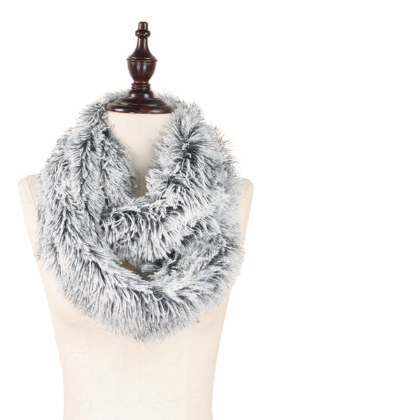 Fluffy Vegan Long Fur Infinity Scarf - In 2 Colors