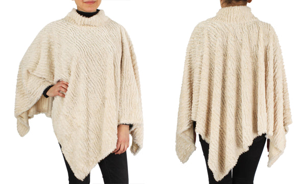 Faux Fur One Sized Light Poncho - In 3 Colors
