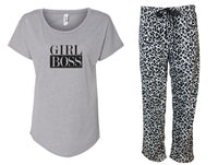 Girl Boss Grey & Leopard Pajama Set