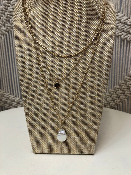 Three Layer Pearl & Coin Necklace - In 2 Colors