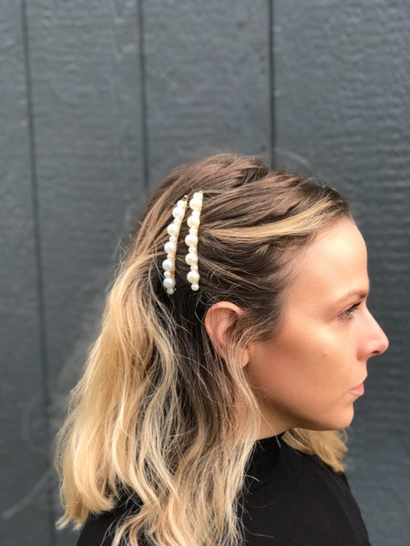Two Piece Pearl Barrette