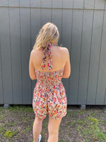Halter Neck Floral Print Romper by Angie