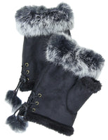 Vegan Fur Fingerless Laced Gloves - In 4 Colors