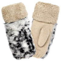 Thick Fluffy Lined Animal Print Mittens In Beige