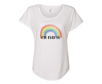 I'm Over It Ladies Rainbow Shirt - In Grey & White