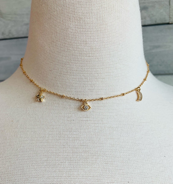WEI // EVIL EYE/STAR/MOON CRYSTAL NECK 0302339/GOLD