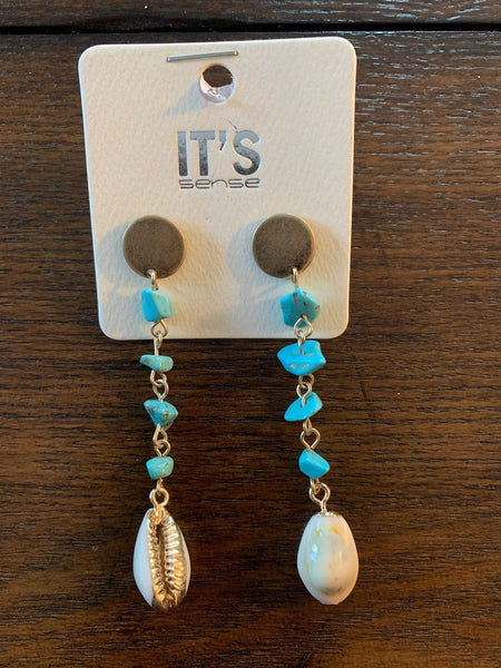 Cowrie Shell Chipped Stone Dangle Post #113