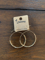 Large Beaded Dangle Hoop Earrings #104