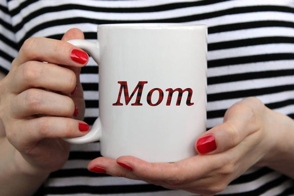 Buffalo Plaid Black & Red Mom White Mug