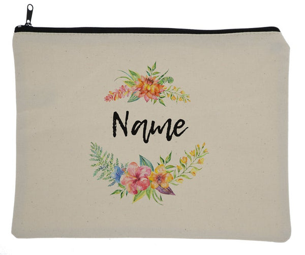 Canvas Custom Name Zipper Bag With Tropical Flowers