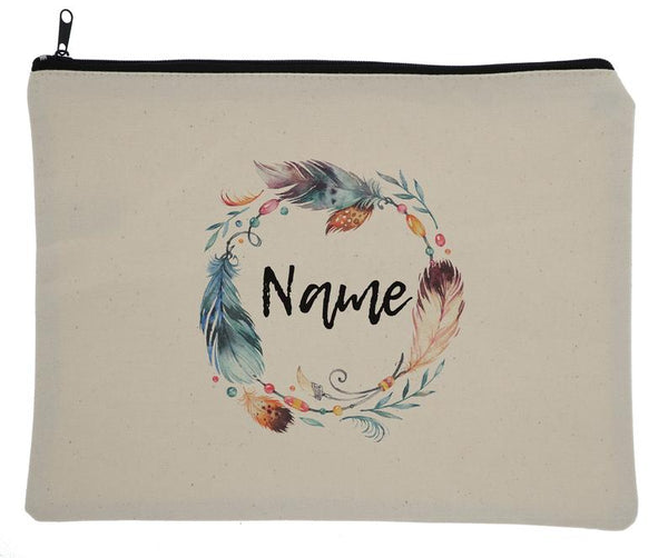 Canvas Custom Name Zipper Bag With Tribal Feathers