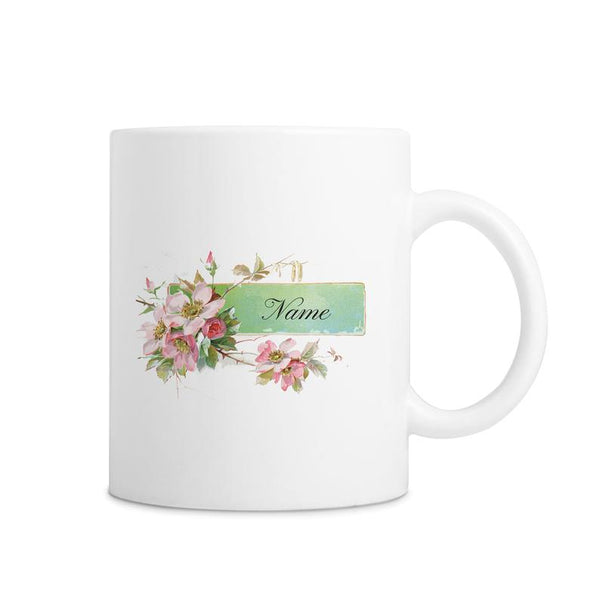 White Custom Name Mug With Vintage Floral Print