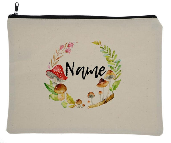 Canvas Custom Name Zipper Bag With Woodland Mushrooms