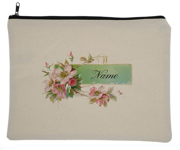 Canvas Custom Name Zipper Bag With Vintage Flowers