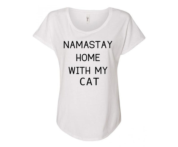 Namastay Home with my Cat Ladies Tee Shirt - In Grey & White