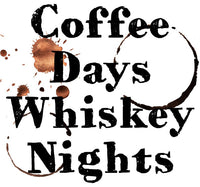 Coffee Days Whiskey Nights Ladies Tee Shirt - In Grey & White