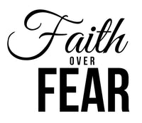 Faith Over Fear Ladies Tee Shirt - In Grey & White