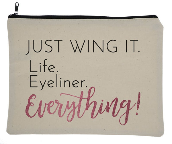 Just Wing It Canvas Zipper Bag